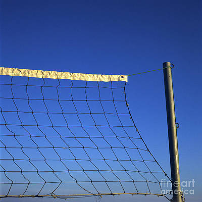 Close-up Of A Volleyball Net Abandoned. Poster
