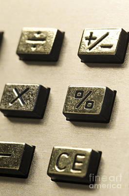 Close-up Of Sign On The Buttons Of A Calculator Poster by Bernard Jaubert