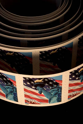 Closeup Of Modern United States Stamps Poster by Phil Schermeister