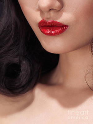 Closeup Of Woman Red Lips Poster