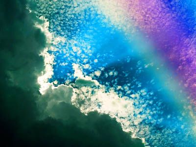 Clouds And Rainbow Colors Poster