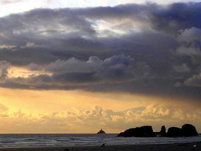 Clouds Over Tillamook Lighthouse Poster