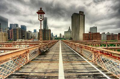 Cloudy New York From Brooklyn Bridge Poster