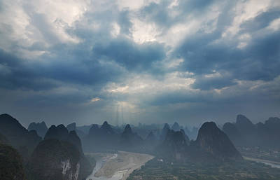 Poster featuring the photograph Cloudy Sunset In Guilin Guangxi China by Afrison Ma