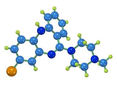 Clozapine Antipsychotic Drug Molecule Poster by Dr Mark J. Winter