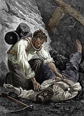 Coal Mine Rescue, 19th Century Poster by Sheila Terry