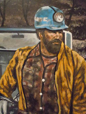 Poster featuring the painting Coal Miner At Mariana Mine by James Guentner