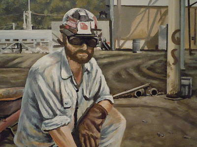 Poster featuring the painting Coal Miner At Vestaburg Mine by James Guentner