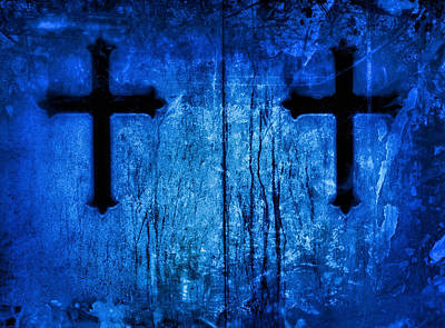 Cobalt Blue Cross Duo Poster by Tony Grider