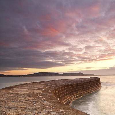Cobb, Lyme Regis At Sunrise Poster by Doug Chinnery
