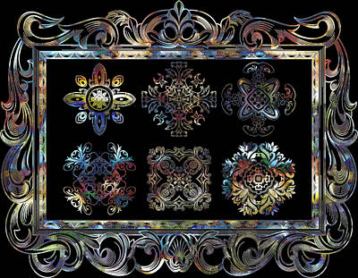 Coffee Flowers Ornate Medallions 6 Piece Collage Aurora Borealis Poster by Angelina Vick
