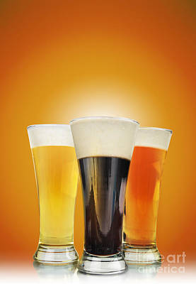 Cold Alcohol Beer Drinks On Gold Poster by Angela Waye