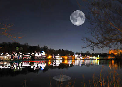 Cold Winter's Night On Boathouse Row Poster by Elaine Plesser