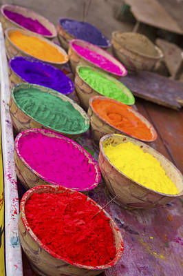 Collection Of Bright Coloured Powders For Use In The Making Of Bindi's, Taken At Stall In Pushkar, Rajasthan, India Poster by Cormac McCreesh