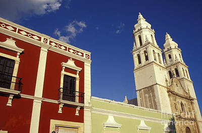 Poster featuring the photograph Colonial Colors Campeche Mexico by John  Mitchell