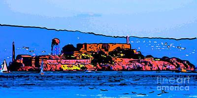 Color Sketch Of Alcatraz In San Francisco Poster