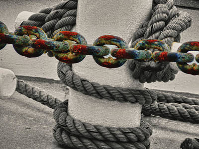Poster featuring the photograph Colored Chain by Kelly Reber