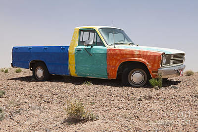 Colorful Abandoned Truck In The Desert Poster by Paul Edmondson