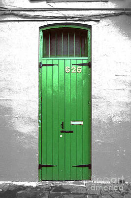 Colorful Arched Doorway French Quarter New Orleans Color Splash Black And White With Film Grain Poster