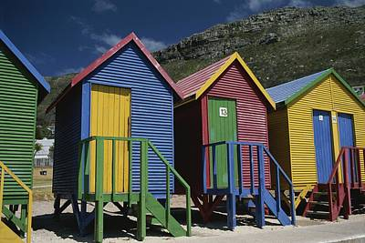 Colorful Changing Huts Line A South Poster by Tino Soriano