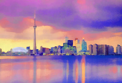 Poster featuring the digital art Colorful City Scape by Walter Colvin
