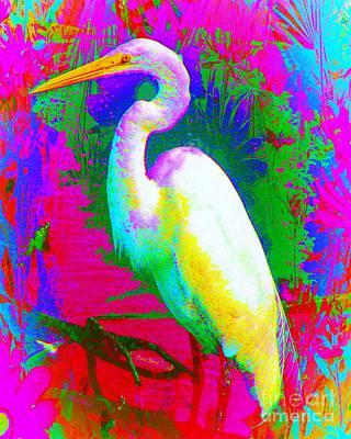 Colorful Egret Poster