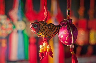 Colorful Fabric Fish And Sachet Poster by Eastphoto