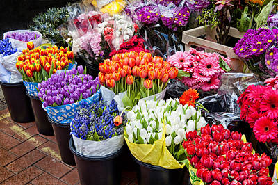 Colorful Flower Market Poster by Cheryl Davis
