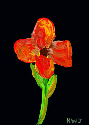 Colorful Flower Painting On Black Background Poster by Keith Webber Jr
