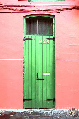 Colorful Green Arched Doorway French Quarter New Orleans Film Grain Digital Art Poster