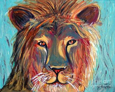 Poster featuring the painting Colorful Lion by Jeanne Forsythe