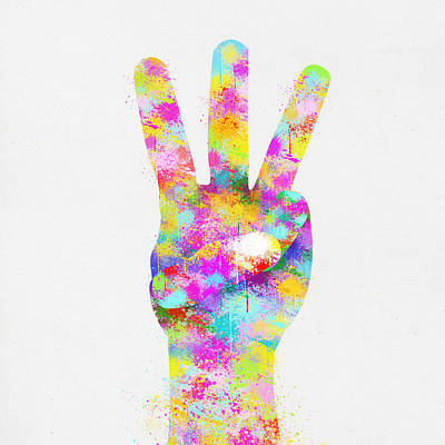 Colorful Painting Of Hand Point Three Finger Poster