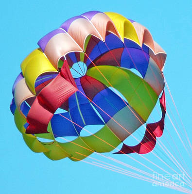 Poster featuring the photograph Colorful Parachute by Val Miller