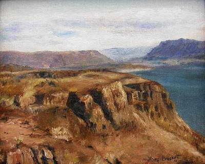 Poster featuring the painting Columbia River Gorge I by Lori Brackett