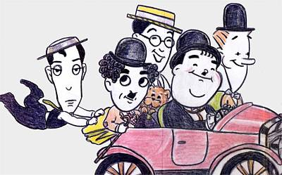 Comedians In Model T Poster by Mel Thompson