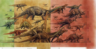 Comparison Of Dinosaurs Of Triassic Poster by Roy Andersen