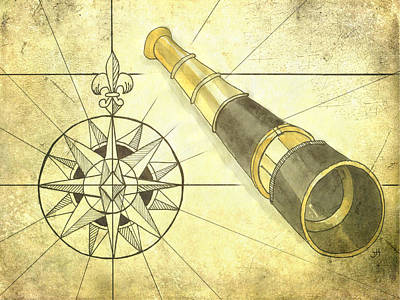 Compass And Monocular Poster