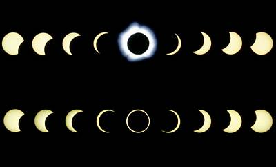 Composite Time-lapse Images Of Solar Eclipses Poster by Dr Fred Espenak
