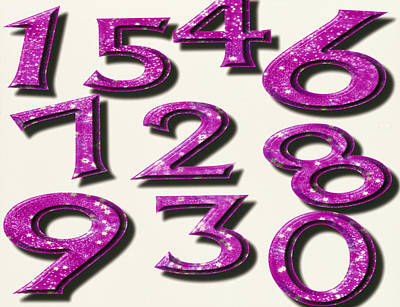 Computer Artwork Of Numbers 0-9 Used In Numerology Poster