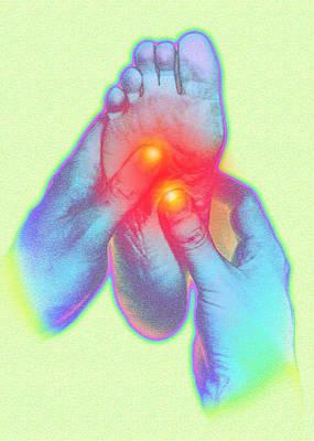 Computer Artwork Of Reflexologist Massaging A Foot Poster
