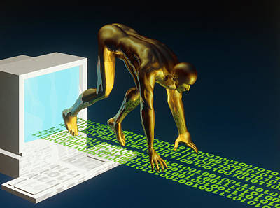 Computer Artwork Of The Internet As A Sprinter Poster by Laguna Design