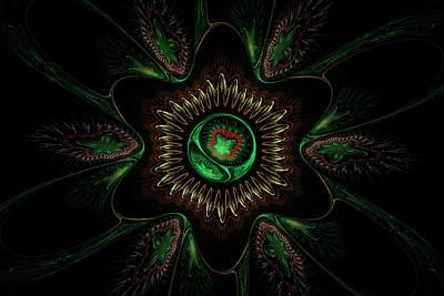Computer Generated Green Flower Abstract Fractal Flame Modern Art Poster