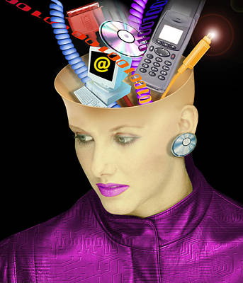 Concept Of A Woman's Head And Communication Poster