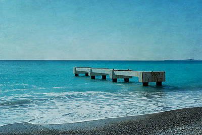 Concrete Pontoon At Nice From Beach Shore Poster by Alexandre Fundone
