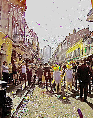 Confetti Sky On Mardi Gras Day In New Orleans Poster