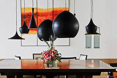 Contemporary Living Dining Room Interior Poster