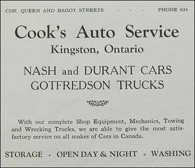 Cooks Auto Service Nash Durant Ca 1931 Poster by Kingston Ontario