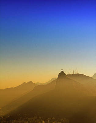 Corcovado Mountain And Christ Redeemer At Sunset Poster by Antonello