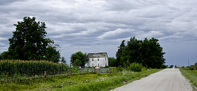 Corn Storm Clouds Horse Dirt Road Old House Poster