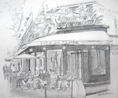 Corner Cafe Poster by David Garren
